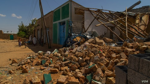 A house destroyed during one of the battles fought for the control of the town of Hawzen, Tigray, in Ethiopia, on June 6, 2021. (VOA/Yan Boechat)