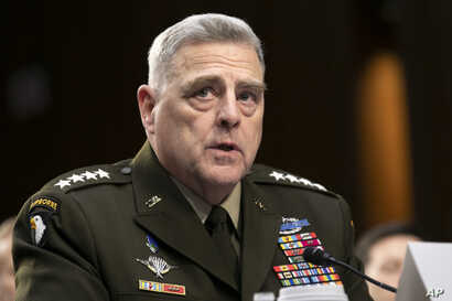 Chairman of the Joint Chiefs of Staff Gen. Mark Milley testifies to Senate Armed Services Committee about the budget, Wednesday…