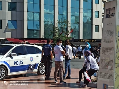 Police ended a Uighur protest and detained those participating. (Courtesy Mirzehmet Ilyasoglu)