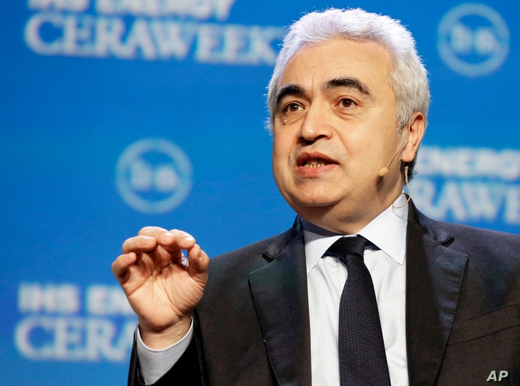 FILE - Fatih Birol, executive director of the International Energy Agency, speaks about the state of the oil industry in Houston, Feb. 22, 2016. He predicts the worldwide glut in oil supplies will drop in the next year or two.