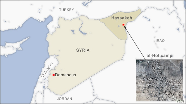Map of Hassakeh province, Syria, showing al-Hol camp