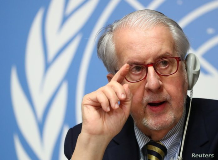 Paolo Pinheiro, chairman of the Committee of Independent Investigations of the Syrian Arab Republic, attended a press conference ...