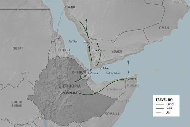 Human Rights Watch has mapped common migration routes between Ethiopia and Saudi Arabia.