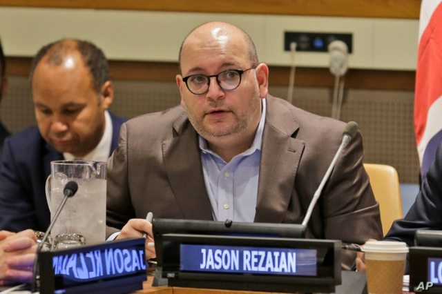 FILE - In this Sept. 25, 2019, file photo, Washington Post journalist Jason Rezaian participates in a panel discussion on media…