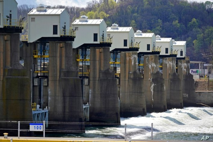 This is the Emsworth Dam and Lock on the Ohio River in Emsworth, Pa., Friday, April 9, 2021. (AP Photo/Gene J. Puskar)