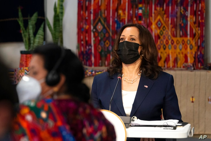 Vice President Kamala Harris attends a meeting with community leaders, at the Universidad del Valle de Guatemala, Monday, June…