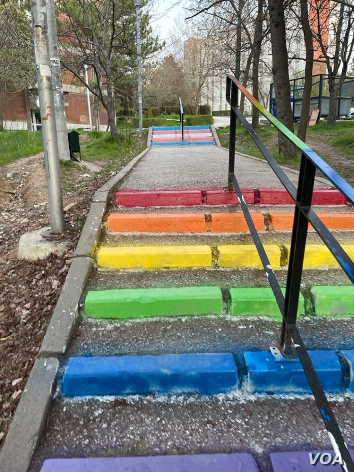 Steps painted in LGBT-themed colors are seen on the campus of the Middle East Technical University in Ankara, Turkey.  (Salim Fayek/VOA)