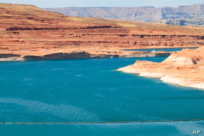 This August 21, 2019 image shows Lake Powell near Page, Arizona.  A plan from Utah could open the door for the state...