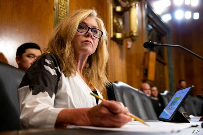 Sen. Marsha Blackburn, R-T.N., takes notes during a Senate Judiciary Hearing on federal judicial nominees on Capitol Hill in…