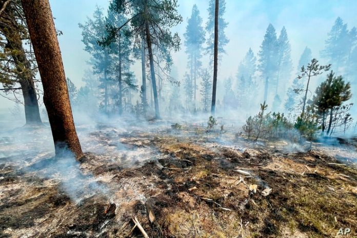 In this photo provided by Bootleg Fire Incident Command, bootleg fires are seen smoldering in southern Oregon on Saturday,…