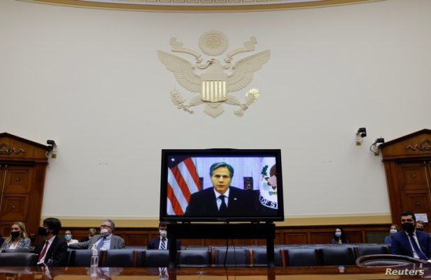 U.S. Secretary of State Antony Blinken testifies on the U.S. withdrawal from Afghanistan at a virtual hearing of the House Foreign Affairs Committee in Washington, Sept. 13, 2021.