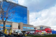 Ambulances line up at the entrance of the emergency room to drop off patients at Intermountain Medical Center in Murray, Utah,…