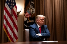 President Donald Trump listens during a meeting with Hispanic leaders in the Cabinet Room of the White House, Thursday, July 9,…