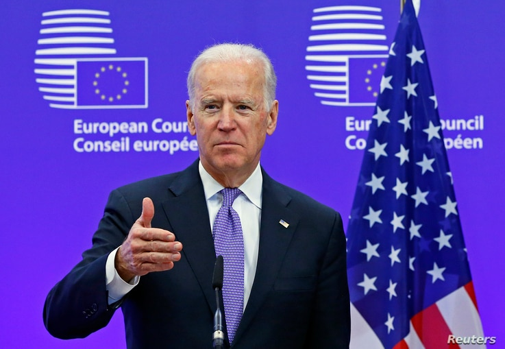 U.S. Vice President Joe Biden holds a joint statement with European Council President Donald Tusk ahead of a meeting at EU…