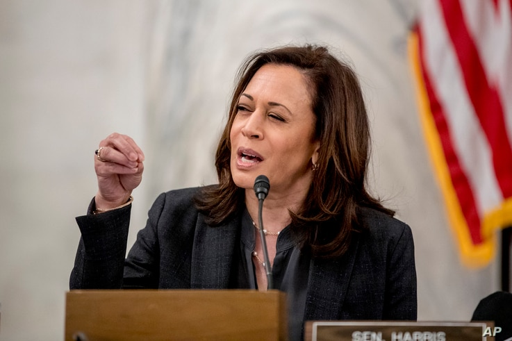 Sen. Kamala Harris, D-Calif., speaks as the Senate Homeland Security and Governmental Affairs committee meets on Capitol Hill…