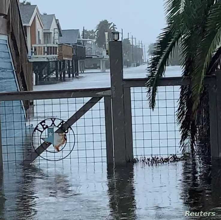 Heavy rain brought by Tropical Storm Beta causes flooding in Jamaica Beach, Texas