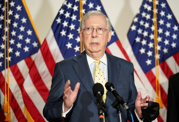 FILE PHOTO: Mitch McConnell speaks at the U.S. Capitol in Washington