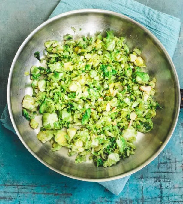 shredded brussel sprouts with maple syrup