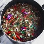 vegan lentil soup recipe in big pot