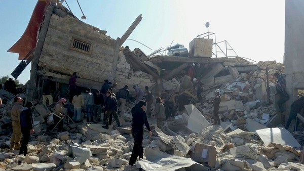 epa05162072 A handout image dated 15 February 2016, provided by the Médecins Sans Frontières (MSF) or Doctors Without Bordersorganization, showing destruction and rubble at an MSF-supported hospital in Idlib province in northern Syria, largely destroyed in an attack on early 15 February 2016. At least eight staff members are missing after airstrikes at a hospital affiliated with Doctors Without Borders (MSF) in northern Syria, believed to have been carried out by Russian jets. 'We can confirm that the MSF-supported structure in Maaret al-Noumaan in northern Idlib was destroyed this morning in airstrikes,' said Mirella Hodeib, a press offer at MSF in Beirut. MSF said 40,000 people would be cut off from access to medical services as a result of the latest strikes on the hospital in Idlib. Three MSF-supported hospitals were recently damaged in Aleppo. EPA/SAM TAYLOR / MSF / HANDOUT HANDOUT EDITORIAL USE ONLY/NO SALES