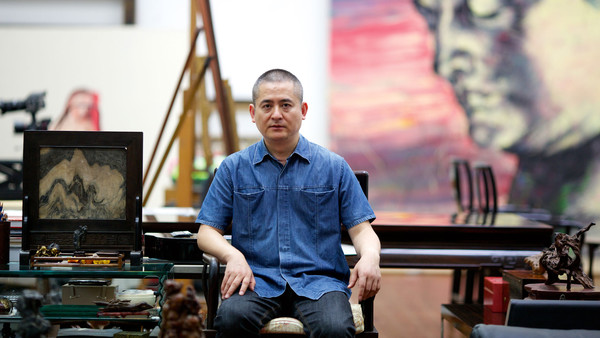 Zeng Fanzhi in his Beijing studio, July 2013