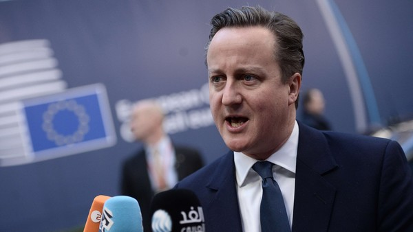 """British Prime Minister David Cameron add...British Prime Minister David Cameron addresses the media as he arrives for the second day of an EU summit meeting at the European Union headquarters in Brussels, on February 19, 2016. Weary EU leaders take up the cudgels for a second day on February 19, still with """"a lot of work to do"""" to prevent Britain becoming the first country to crash out of the bloc. AFP PHOTO / STEPHANE DE SAKUTINSTEPHANE DE SAKUTIN/AFP/Getty Images"""