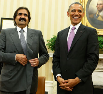 Sheikh Hamad with President Obama at the White House, April 2013