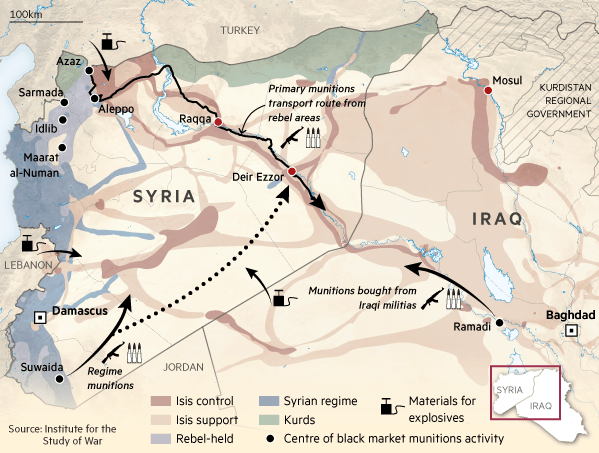 Map: Isis weapons