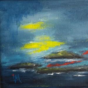 Livets röda tråd 4, 14 x 14, akryl