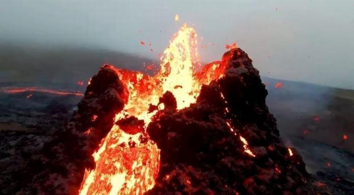 volcano drone melt