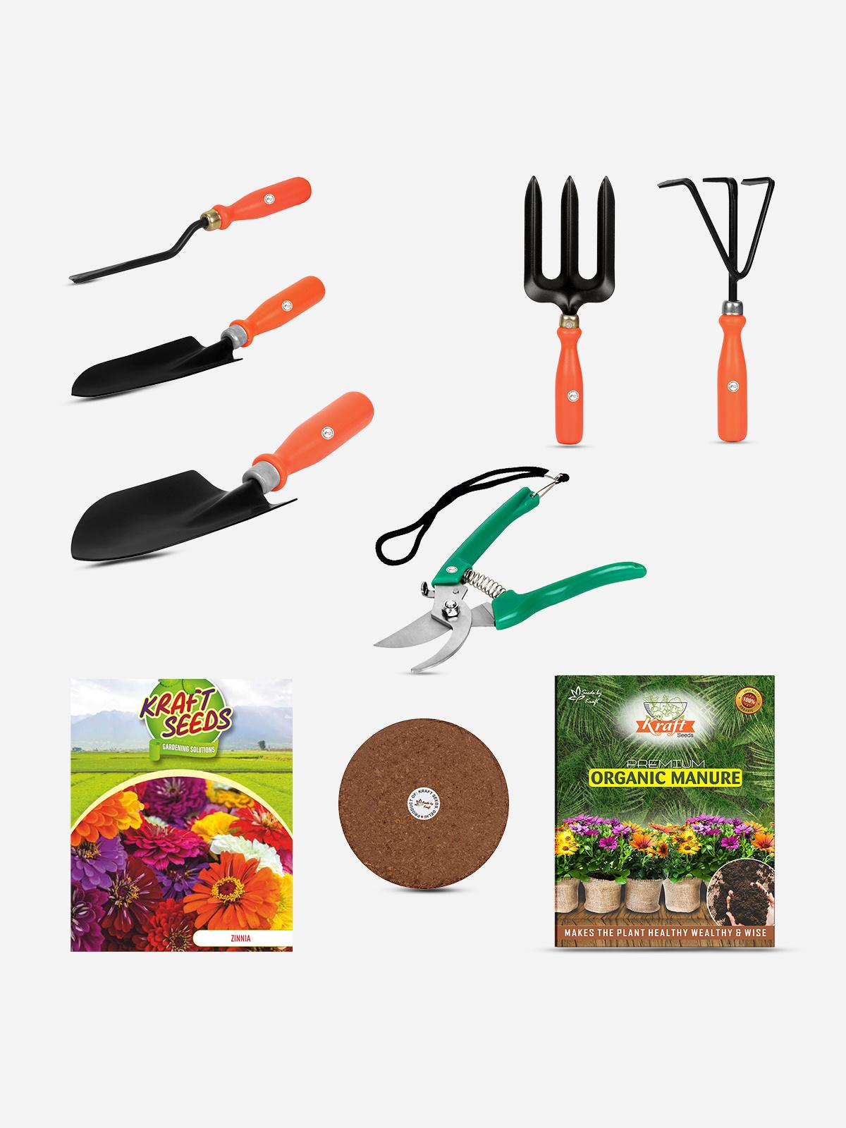 gardening kit with tools and seeds