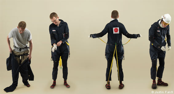 James Crabtree tries on the Agnes ageing suit