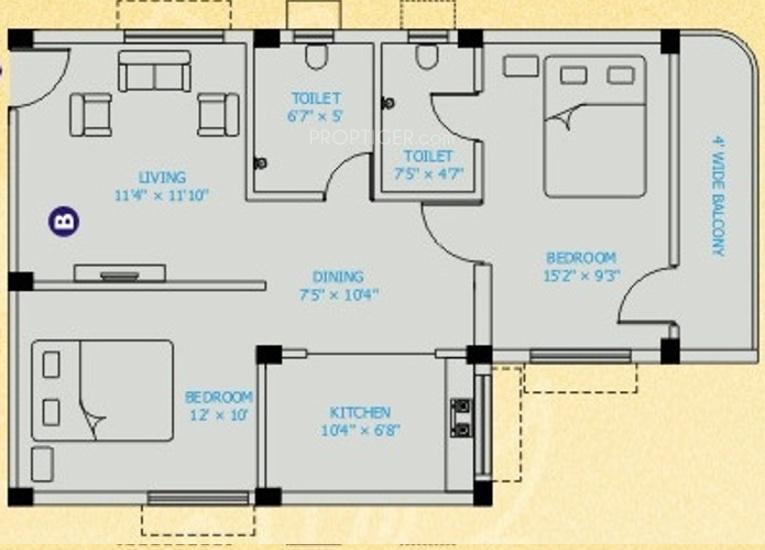 900 Sq Ft 2 BHK Floor Plan Image