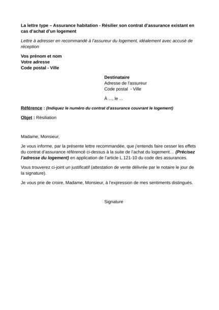 Assurance Habitation Résilier Le Contrat Dassurance