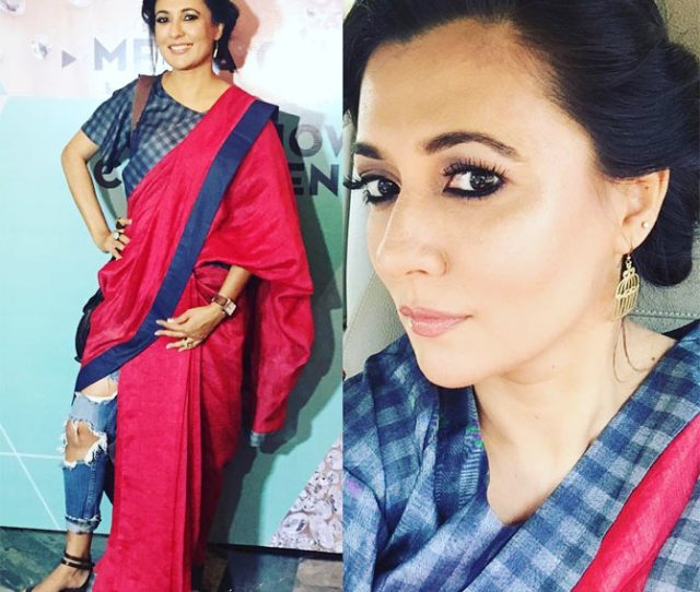 Image For Those Who Like Ethnic Fashion Theres A Stylish New Way To Wear The Sari Drape It Like Mini Mathur Over A Pair Of Distressed Denims And A