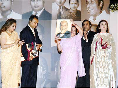 (Left to right) Tina Ambani, Anil Ambani, Kokilaben Ambani, Mukesh Ambani, Nita Ambani at a function to mark the release of the book Dhirubhai Ambani: The Man I Knew, written by Kokilaben, in Mumbai in 2007.