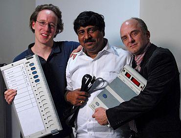 EVM report authors (left to right) J Alex Halderman, Hari K Prasad, , Rop Gonggrijp | Hacker Nucleus