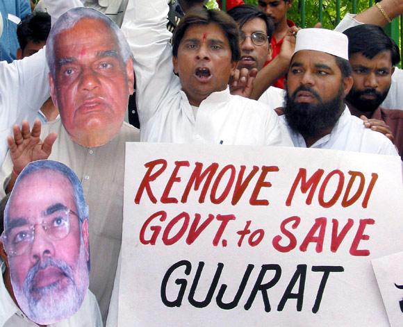 A protest rally in 2002 against Narendra Modi