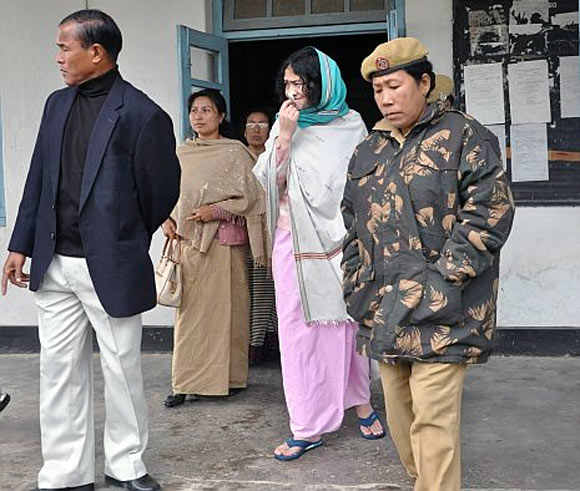Irom Sharmila is produced at the chief judicial magistrate's court in Imphal every fortnight