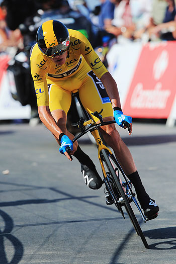 Chris Froome of Great Britain and Team Sky Procycling approaches the finish during stage eleven of the 2013 Tour de France, a 33KM Individual Time Trial from Avranches to Mont-Saint-Michel, on Wednesday