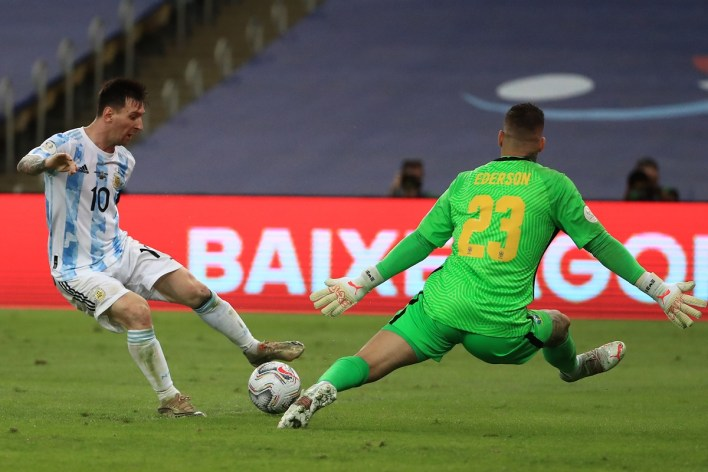 Argentina's Lionel Messi is thwarted by Brazil goalkeeper Ederson at the fag end of the final.