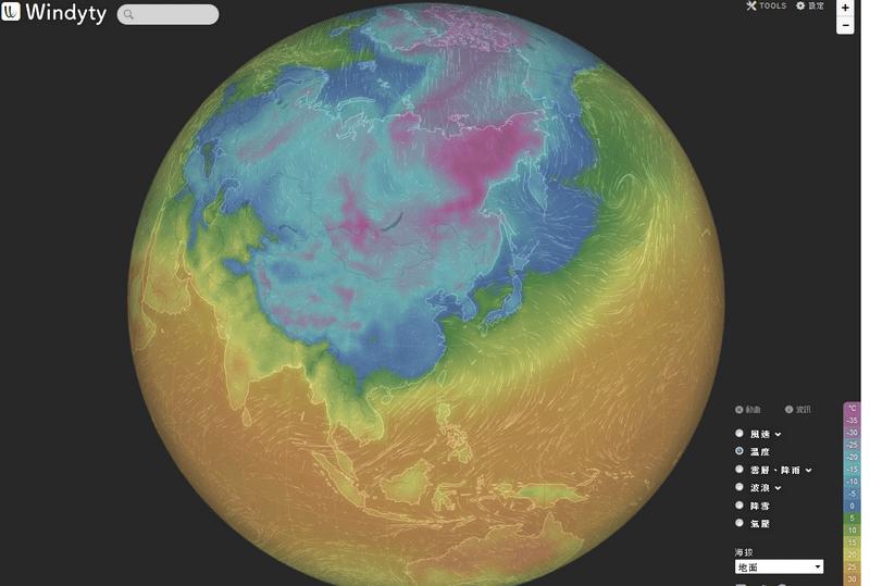 北極震盪和極鋒噴流的模擬動畫 Windyty01