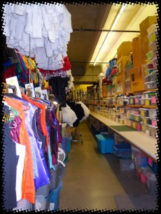 ... and again MORE BINS of supplies running the length of the other wall! Anyone need any elastic? It's a wonder there is anything left in the store!!