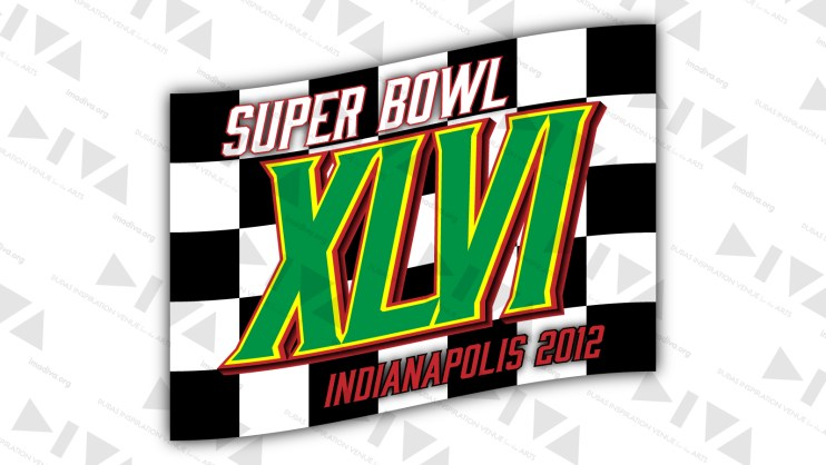 alternate 2012 Super Bowl 46 logo design Indianapolis: checkered flag