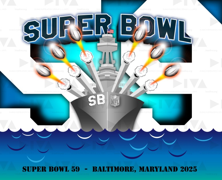 proposed 2025 Super Bowl 59 Baltimore logo design: Navy battleship