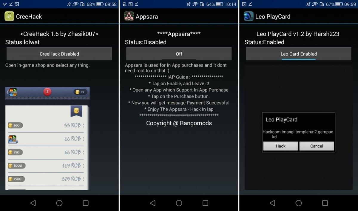 Interfaces de CreeHack, AppSara y Leo PlayCard