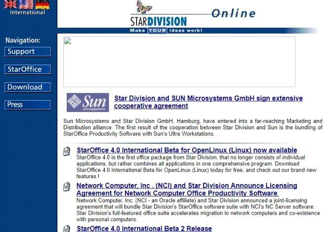 La web de StarDivision en 1997, se anunciaba el acuerdo de colaboración con Sun