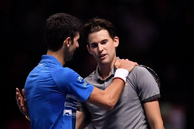 Dominic Thiem and Novak Djokovic