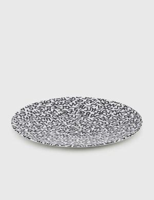 Ligne Blanche Keith Haring Black Pattern Limoges Porcelain Plate
