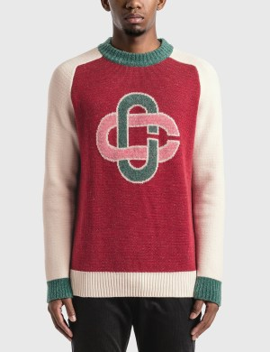 Casablanca Intarsia Bordeaux Knitted Sweater